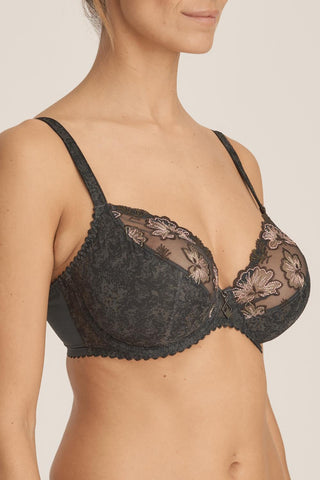 Prima Donna Wild Flower Balcony Plunge Bra 163135 Night Grey