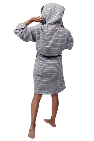 Striped Bamboo Robe TTBR-4 Slate