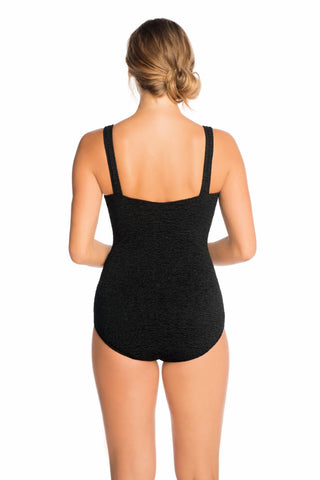 Penbrooke Plus Krinkle Square Neck One Piece Swimsuit 70038X Brick