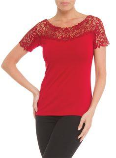 Red Arianne Teri Scoop Neck Tee 9500