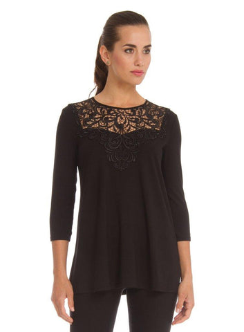 Arianne Teri Long ¾ Sleeve Top 9606L - Black