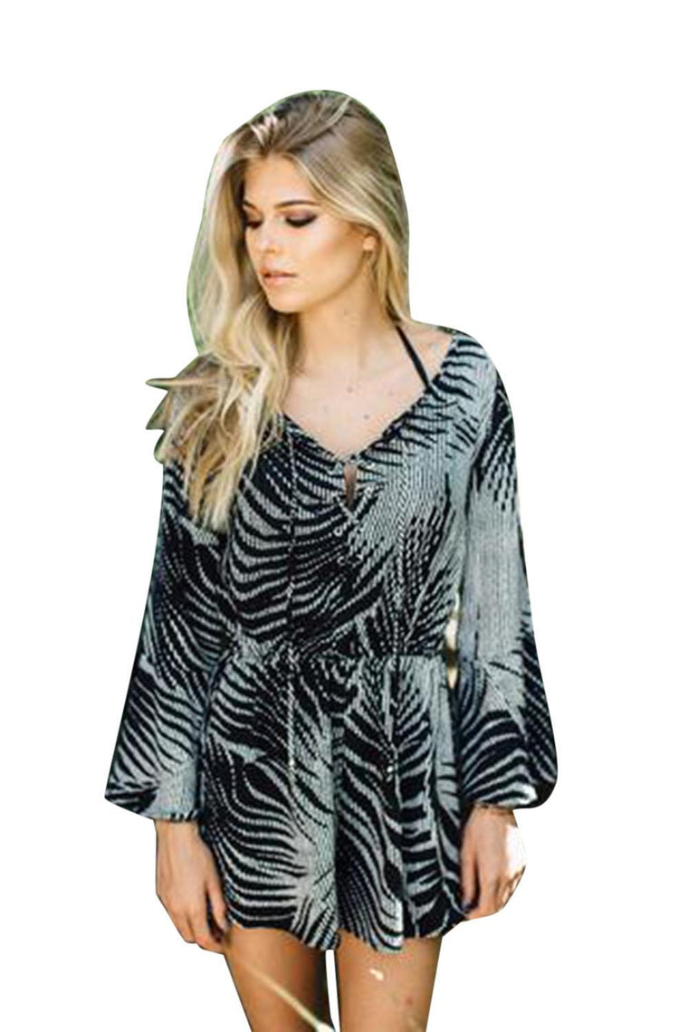 J Valdi Royal Palm Lace Up Romper 25077
