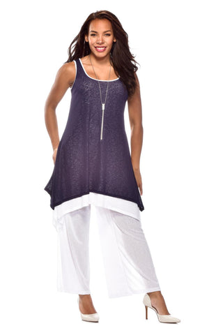 Rapz Two Tone Long Tunic 4399 Navy/White