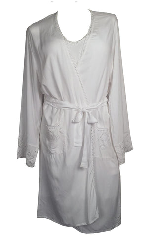 Cyberjammies Ella Embroidered Long Sleeve Robe 4144 White