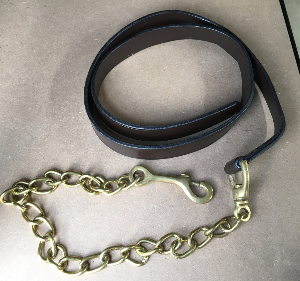 Leather Brass Chain Lead - Brown