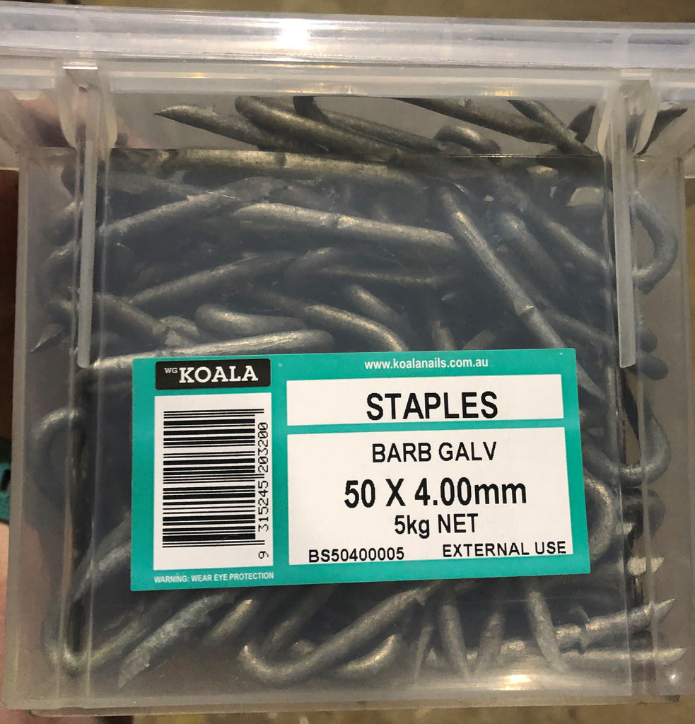 Barbed Staples Galvanised - 50mm X 4.0mm 5kg