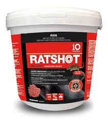 iO Ratshot One Shot Red Pellet 1kg Active: Brodifacoum Pestsbegone