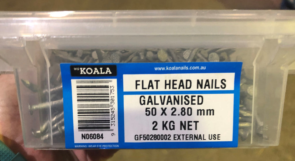 Flat Head Nails Galvanised - 50mm X 2.8mm 2kg