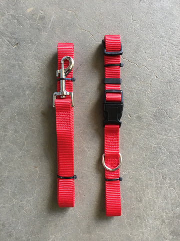 Nylon Leash and Collar BUNDLE - Red