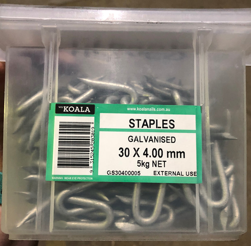 Staples Hot Dipped Galvanised - 30mm X 4.0mm 5kg