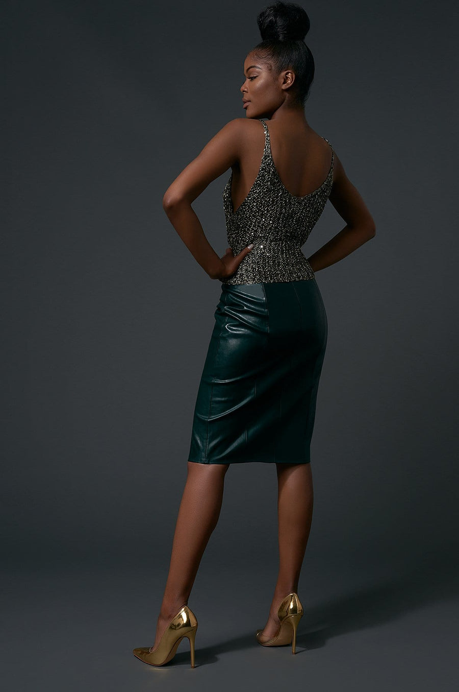 'Margaux' Faux Leather Pencil Skirt