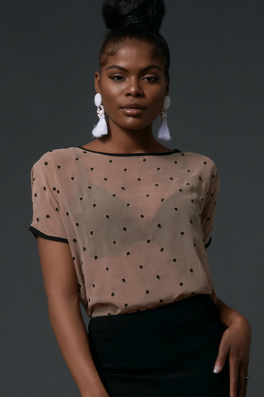'Elisa' Sheer Polka Dot Top