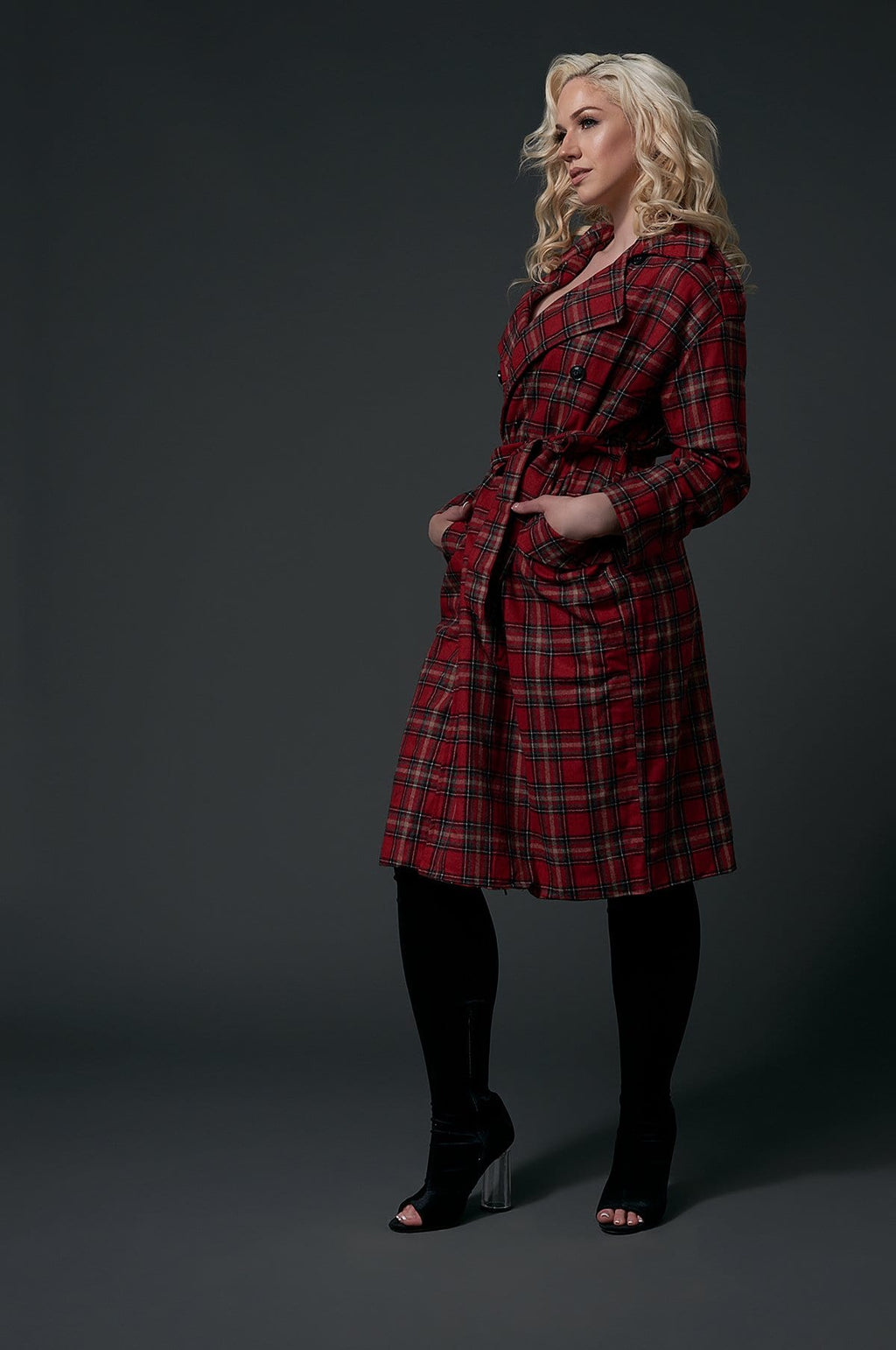 'Teagan' Double-Breasted Plaid Coat