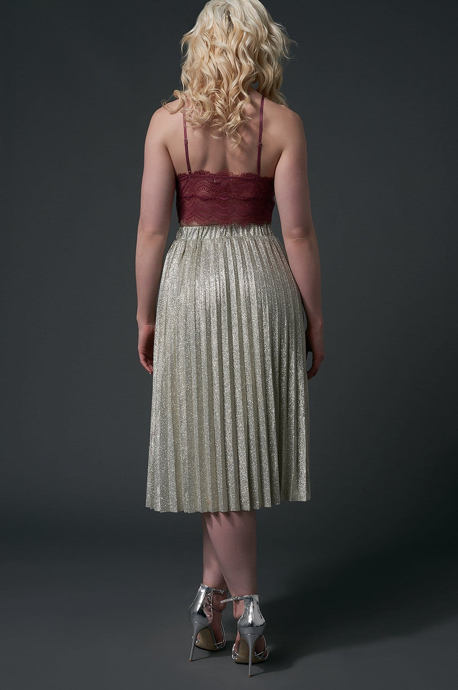 'Callie' Pleated Midi Skirt