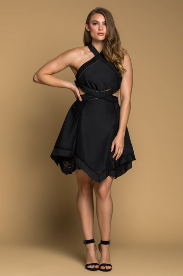 'Janessa'  Black Halter Handkerchief Dress