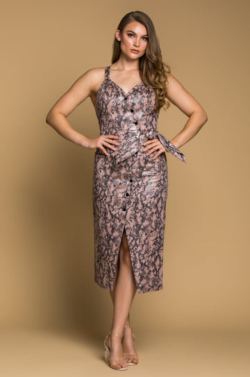 'Milana' Blush Python Midi Dress