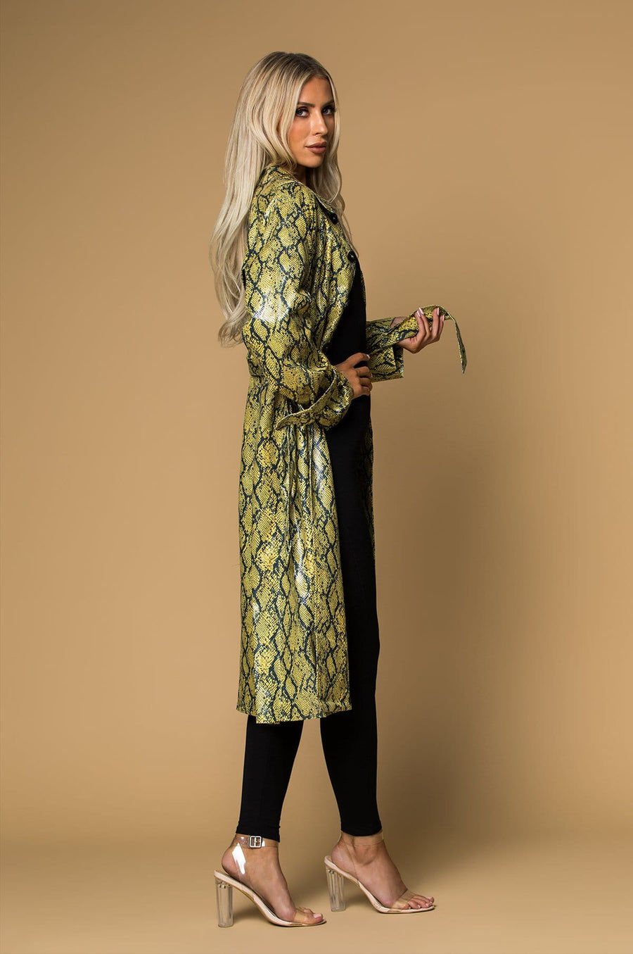 'Aiko' Snake Print Trench Coat