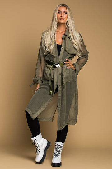 'Zahra' Mesh Military Trench Coat