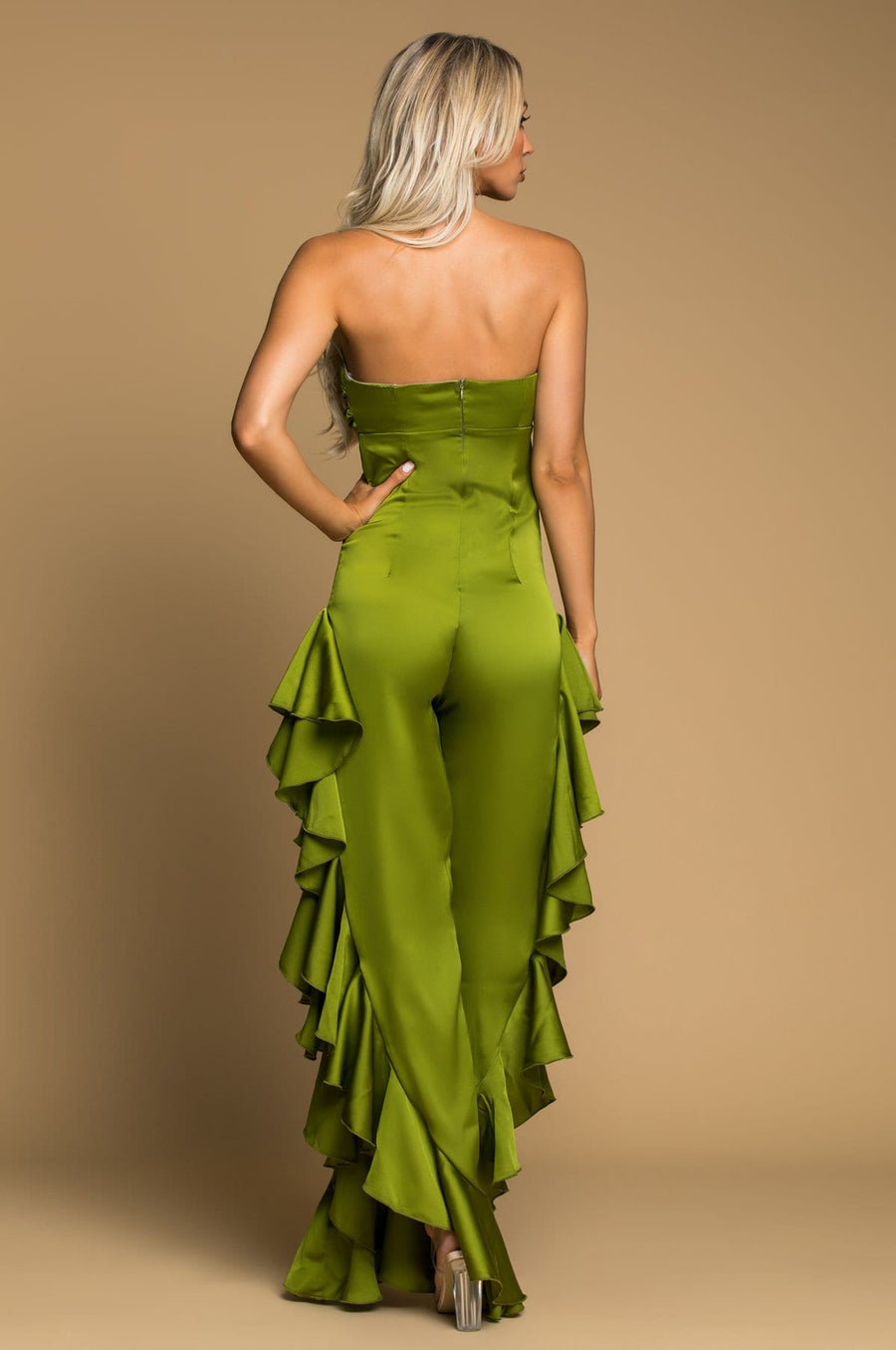 'Tangela' Strapless Satin Jumpsuit