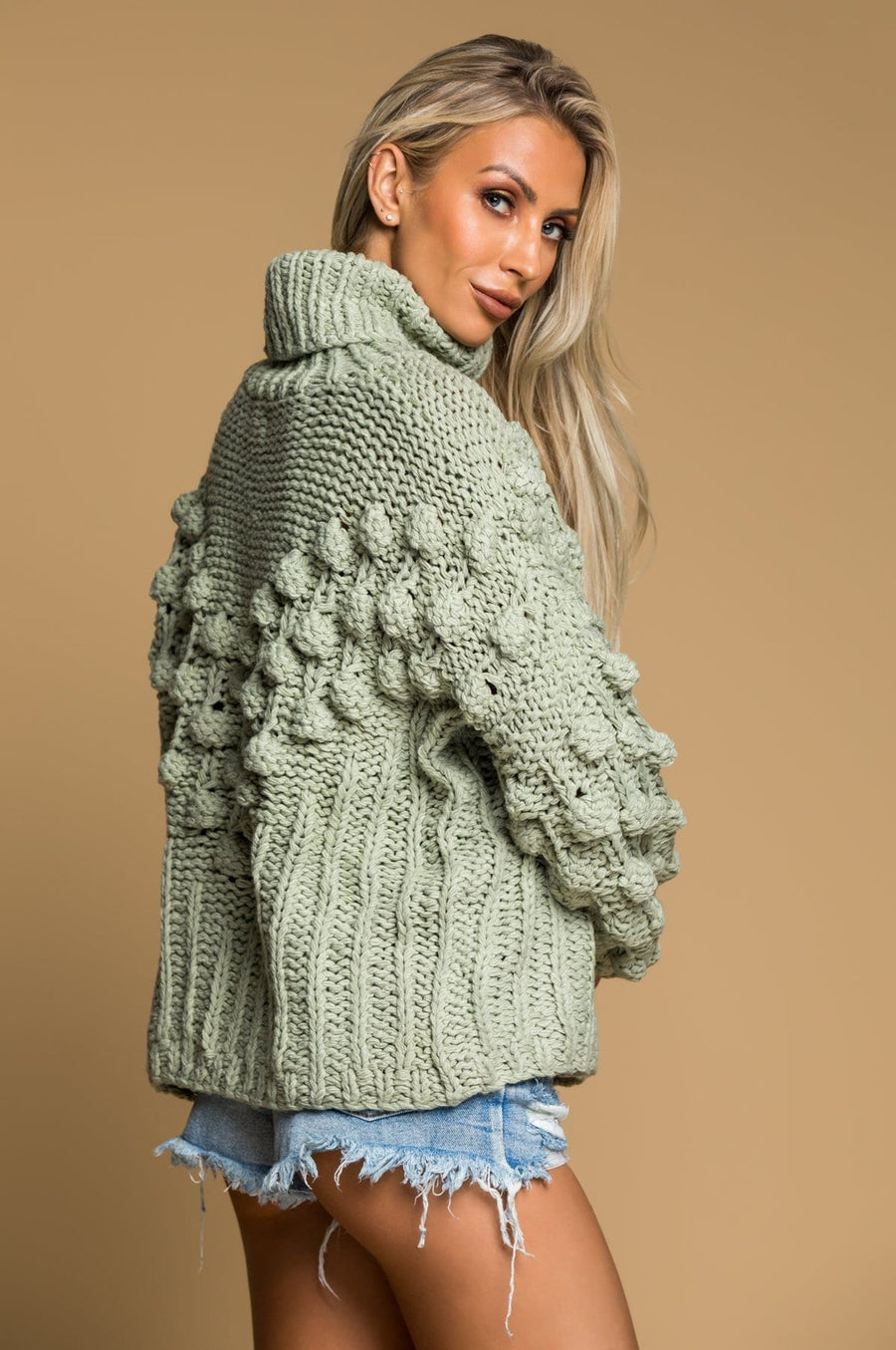 'Presley' Sage Turtleneck Sweater