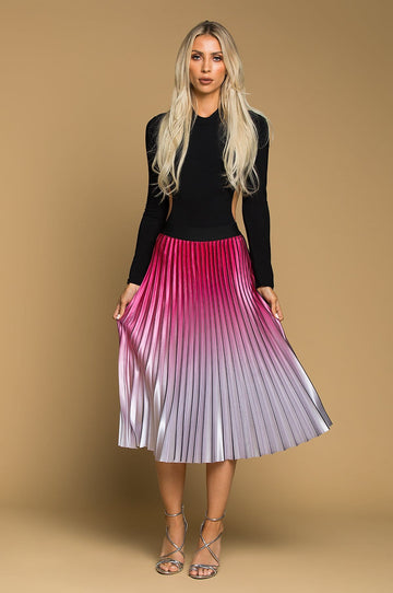 'Gabriella' Pleated Ombré Maxi Skirt