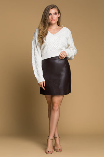 'Shawna' Vegan Leather Mini Skirt