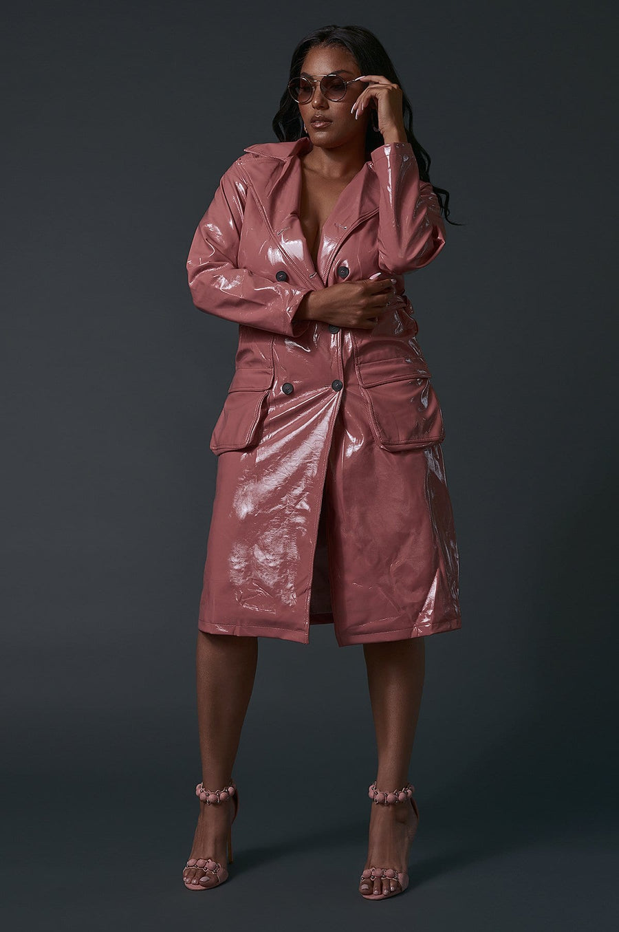 'Calista' Faux Leather Vinyl Trench