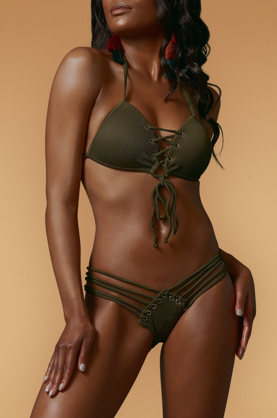 'Samara' Ribbed Lace-up Bikini