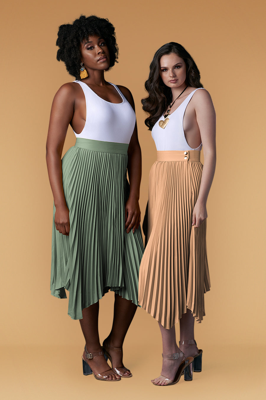 'Whitney' Pleated Midi Skirt