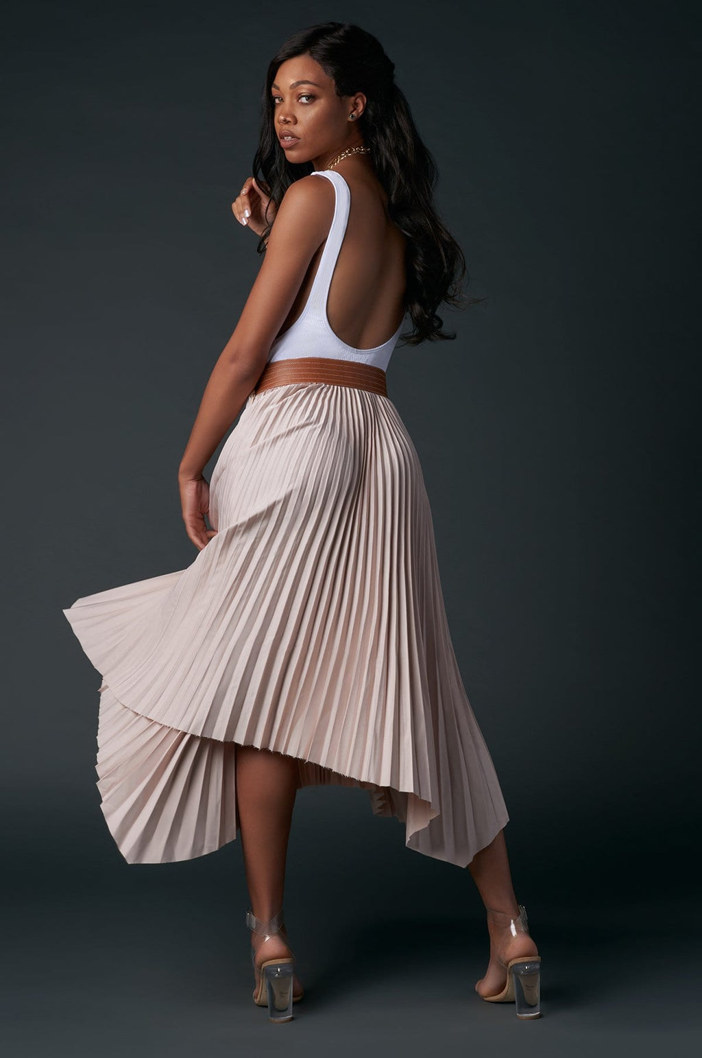 'Faith' Pleated Midi Skirt