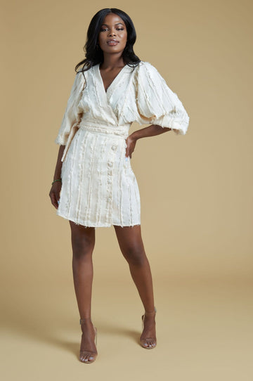 'Leanna' Fringe Puff Sleeve Wrap Dress