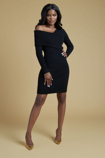 'Myra' Black Knit Sweater Dress
