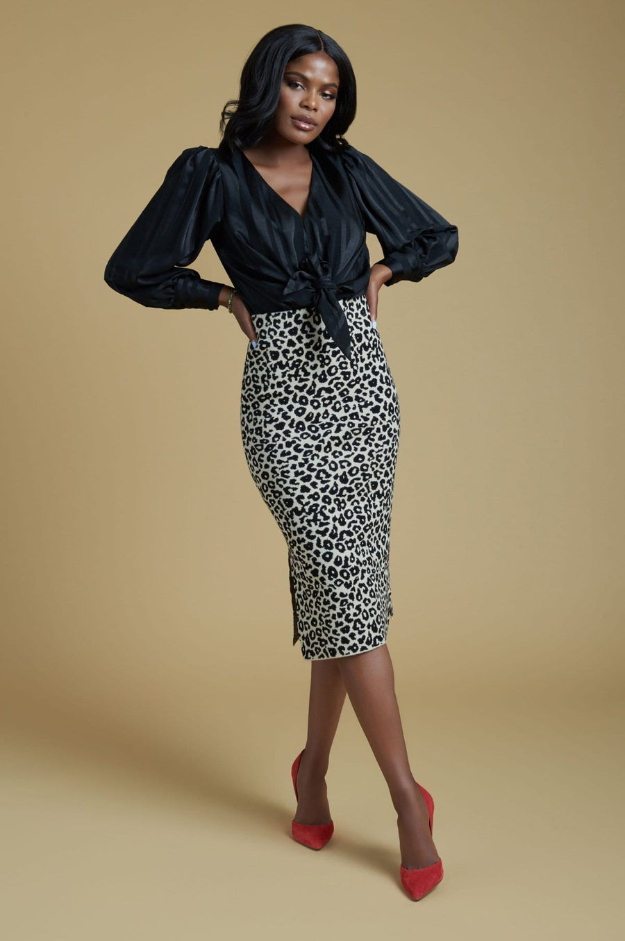 'Tyra' Leopard Print Sweater Skirt