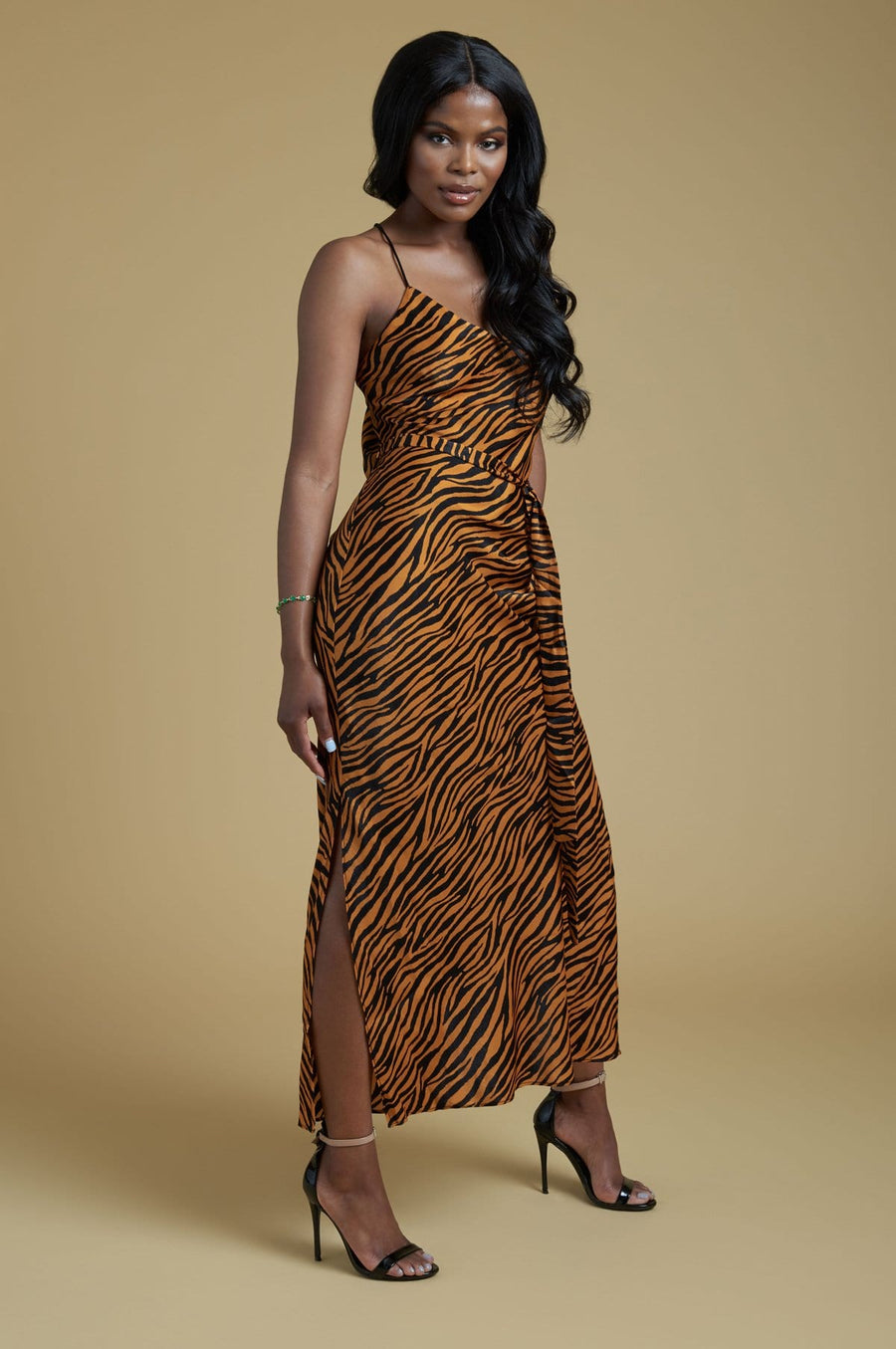 'Magnolia' Animal Print Strappy Satin Midi Dress