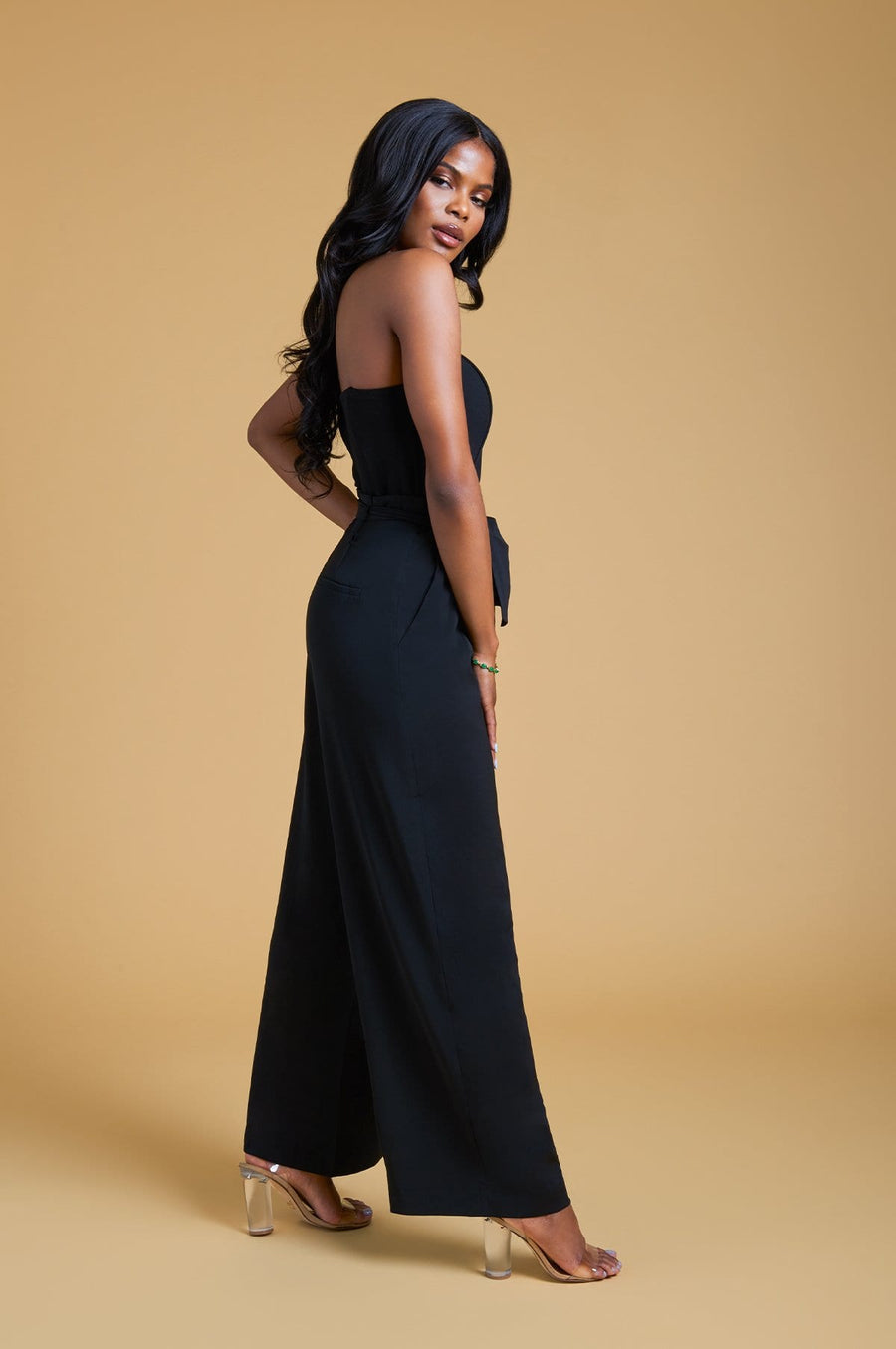 'Cadence' Strapless Wide Leg Jumpsuit