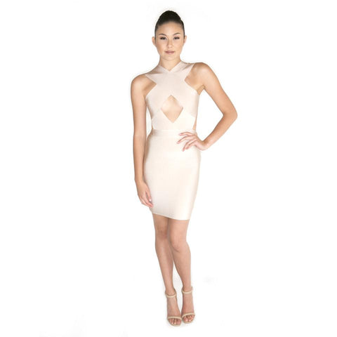 'Nemea' Nude Mini Bandage Dress