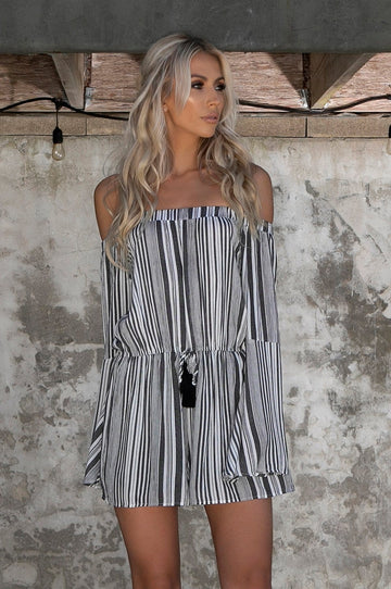 'Brigette' Striped Romper