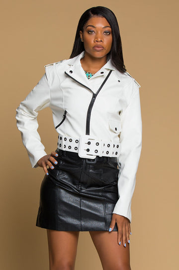 'Nova' Faux Leather Moto Jacket