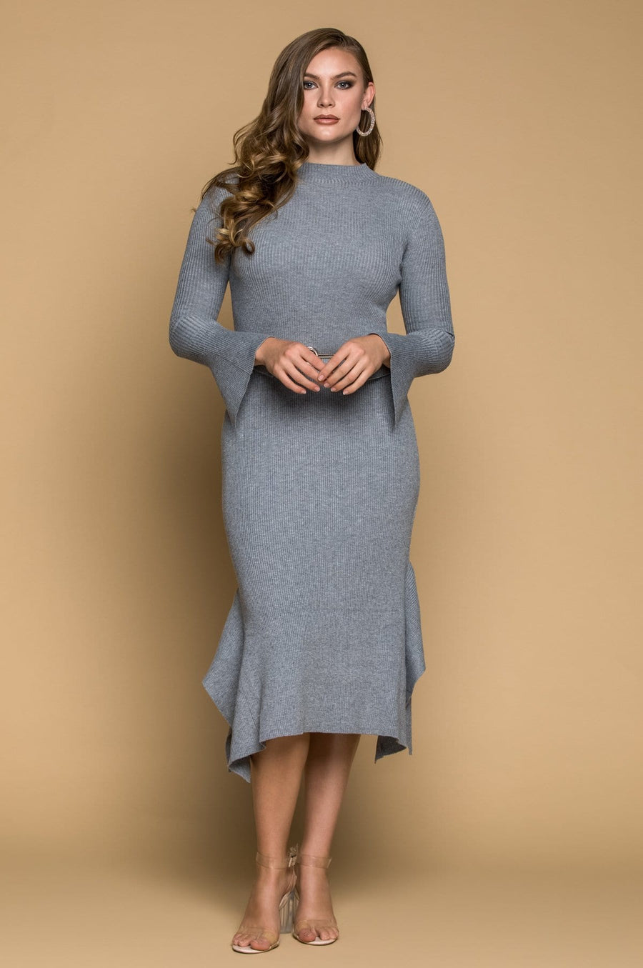 'Catalina' Heather Gray Sweater Dress