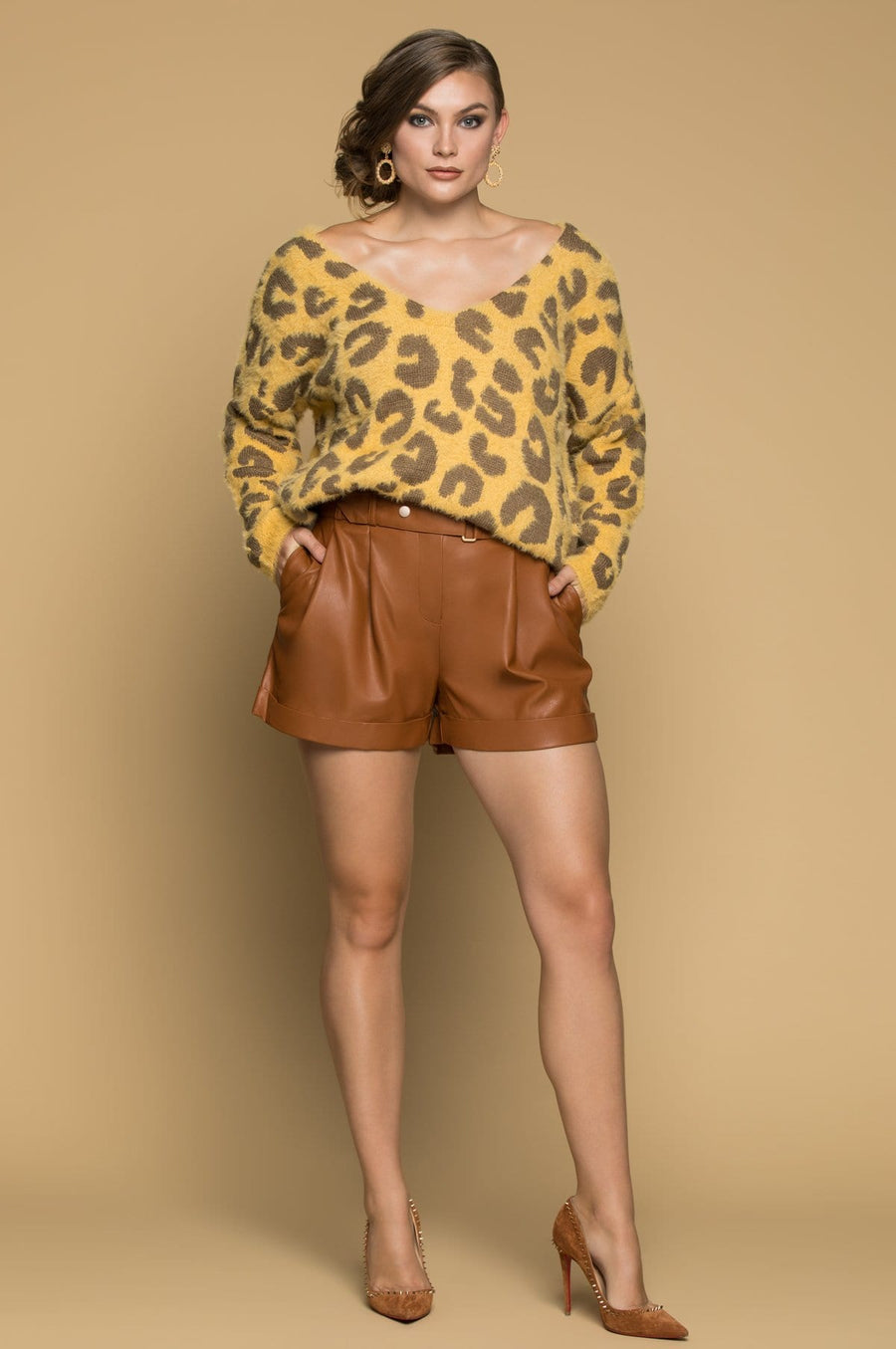 'Freya' Animal Print  Knit Sweater