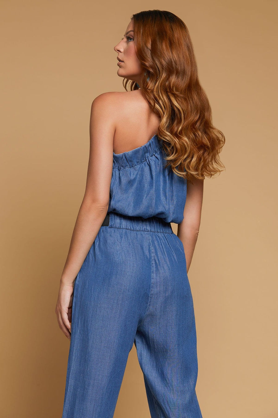 'Jacquelyn' Cold Shoulder Denim Jumpsuit