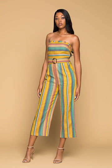 'Yuma' Striped Strapless Jumpsuit