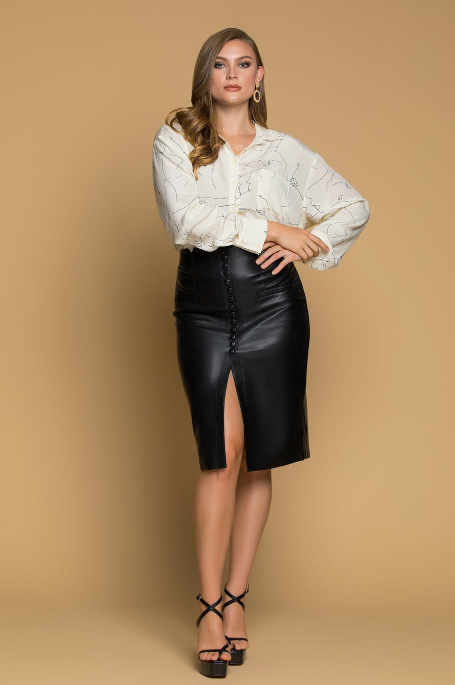 'Annika Faux Leather Pencil Skirt