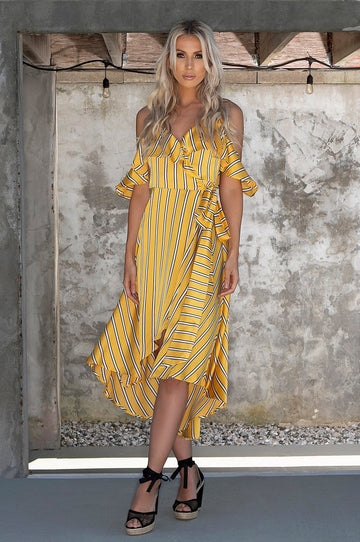 'Gisele' Striped Maxi Wrap Dress