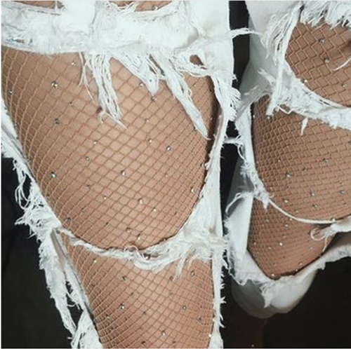 'Poseidon' Rhinestone fishnet tights
