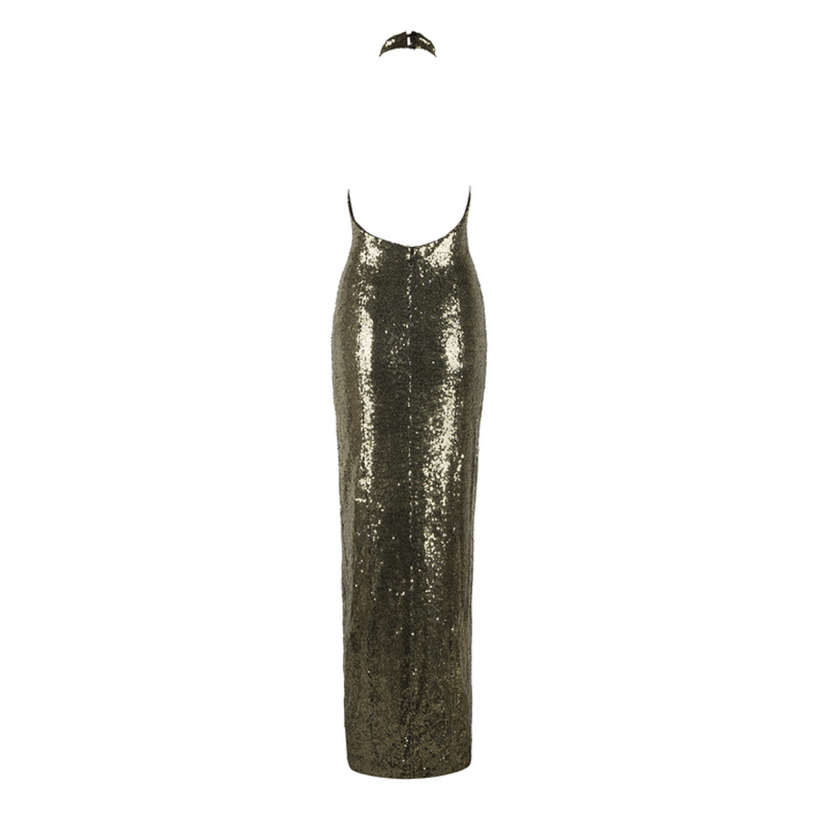 'Gamelia' Gold Sequinned Maxi Dress