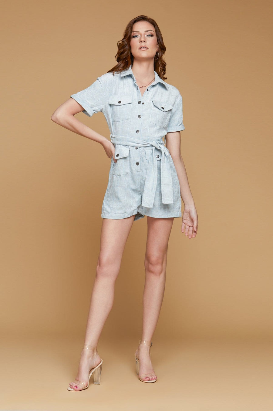 'Courtney' Powder Blue Romper