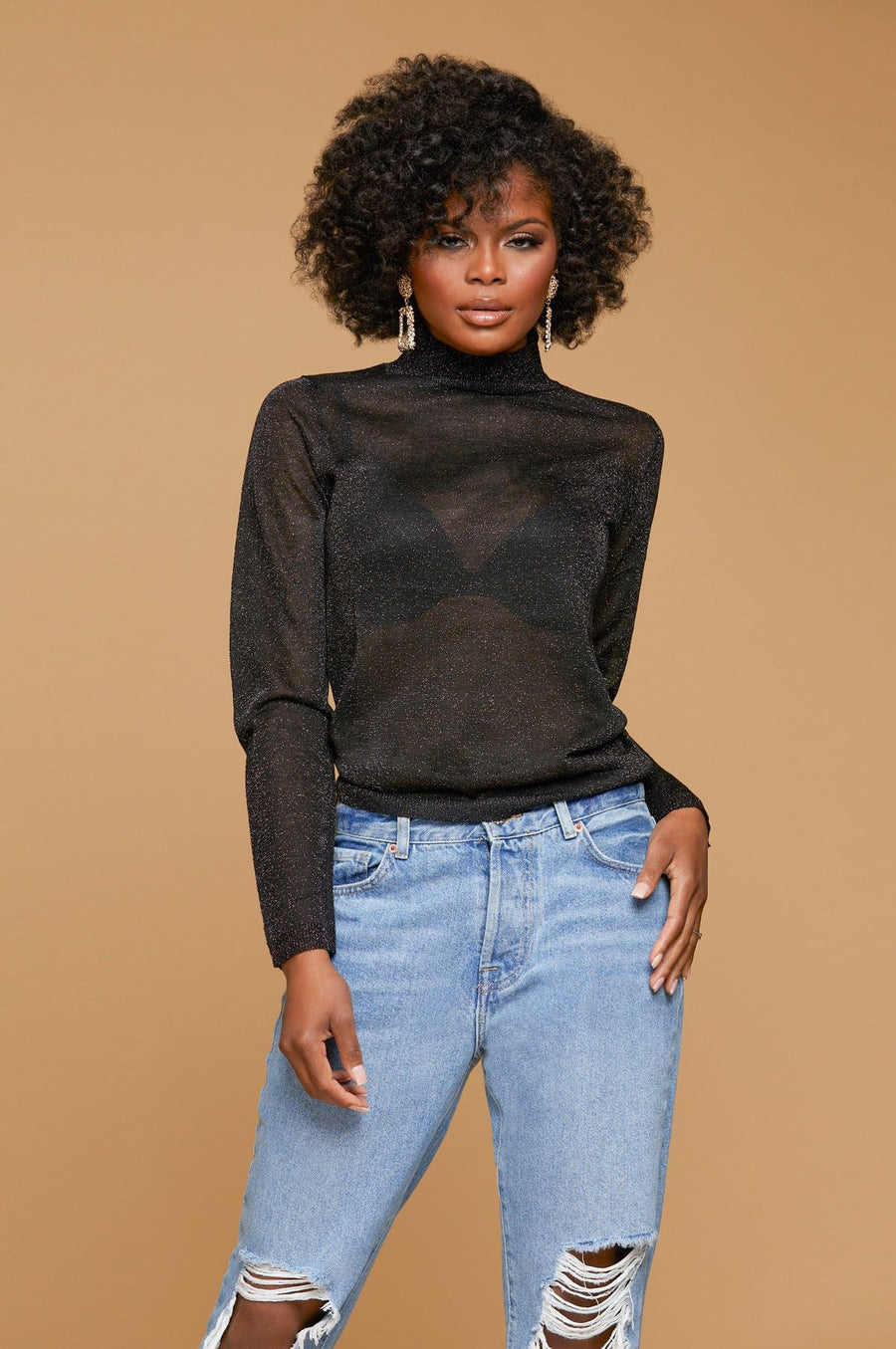 'Justine' Mock Neck Mesh Blouse