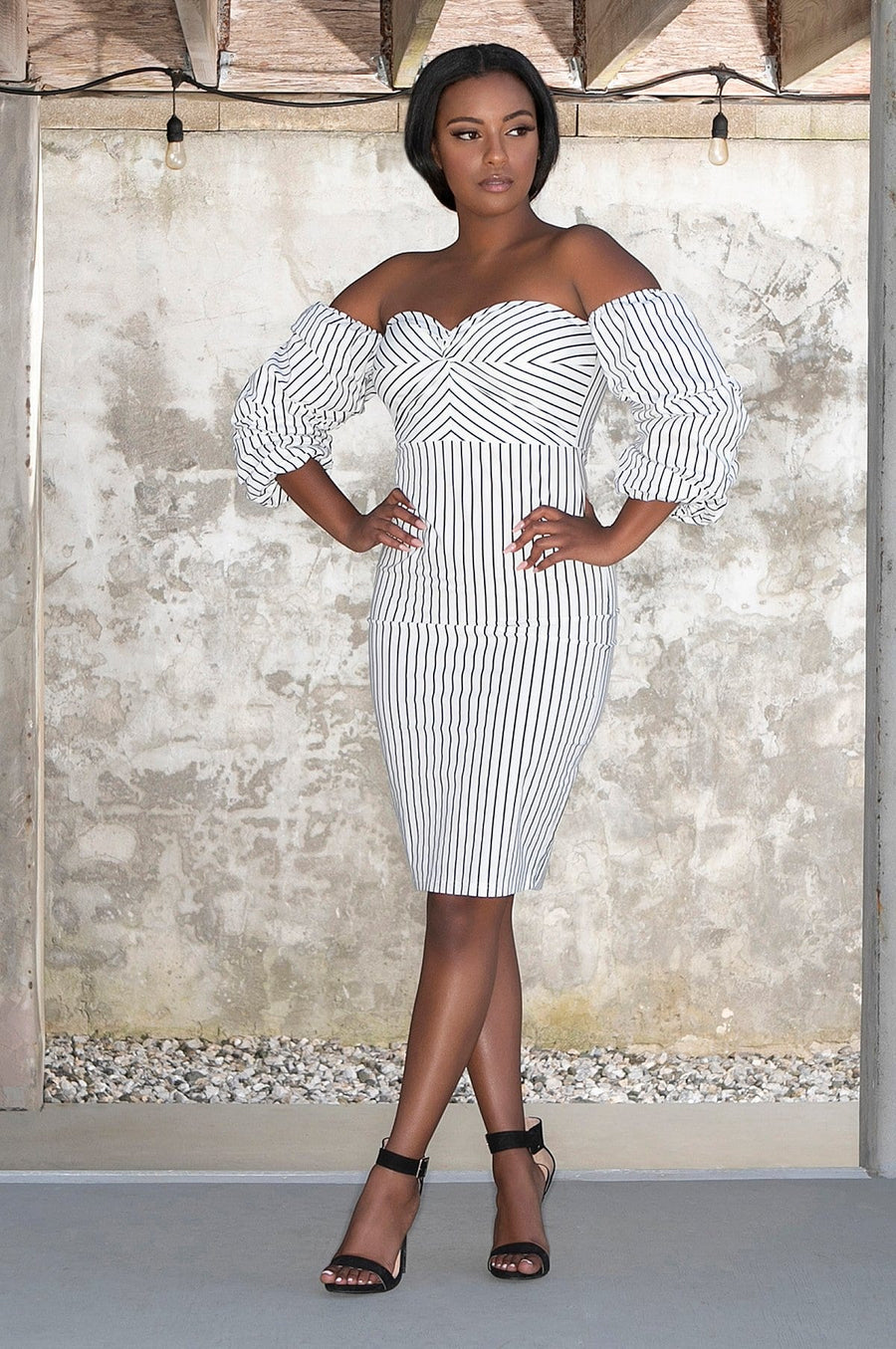 'Tamia' Pinstriped Off-the-Shoulder Dress