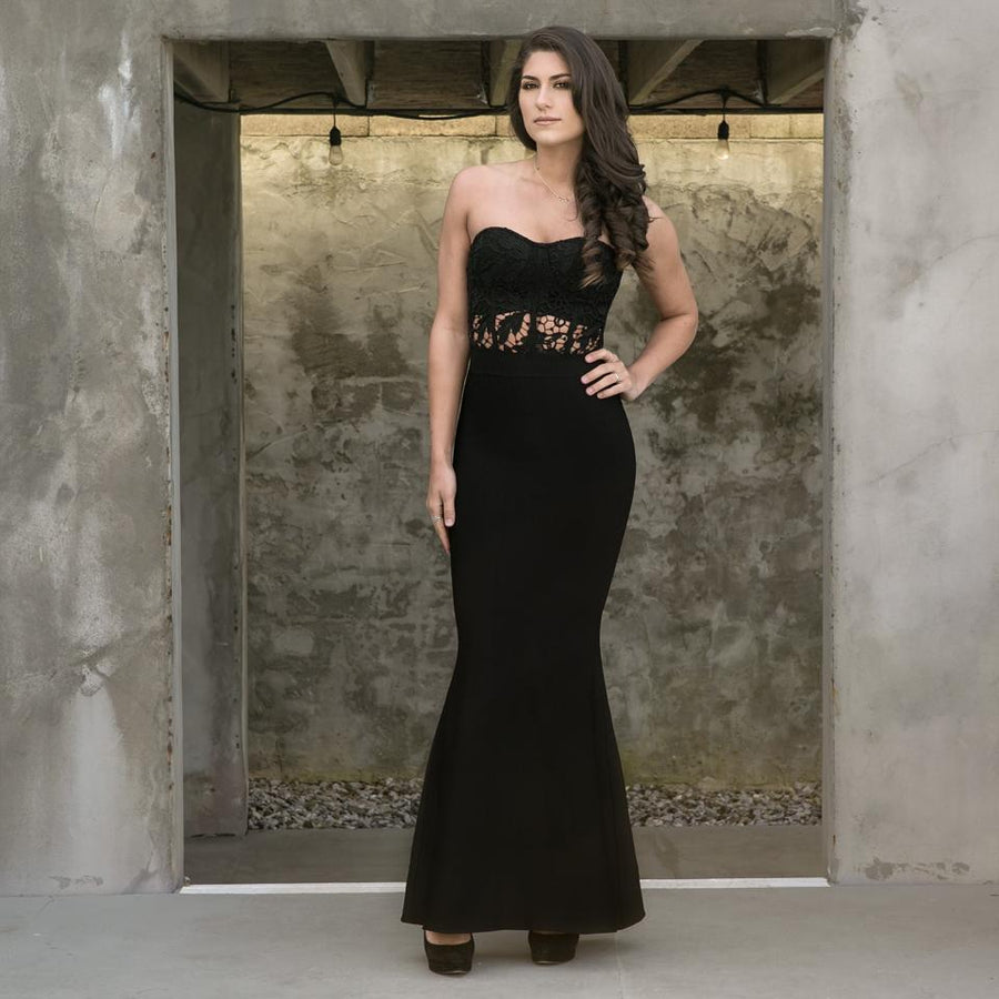 'Avion' Bandage and Lace Maxi Dress
